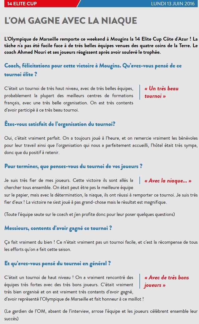 Revue de presse - Interview OM 130616